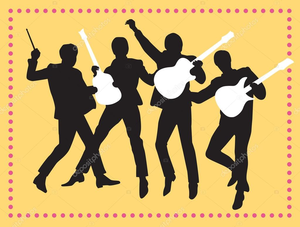 Fab Four Beatles Silhouette Vector Illustration