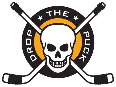 Hockey emblem with skull and crossed hockey sticks