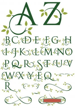 Ornate Swash Alphabet with Leaves