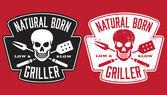 Fotografia Naturale Nato Griller barbecue vector immagine con teschio e attraversato utensili