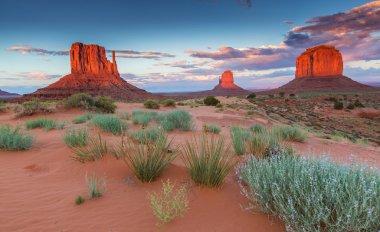 Monument Valley, Arizona, scenery, profiled on sunset sky