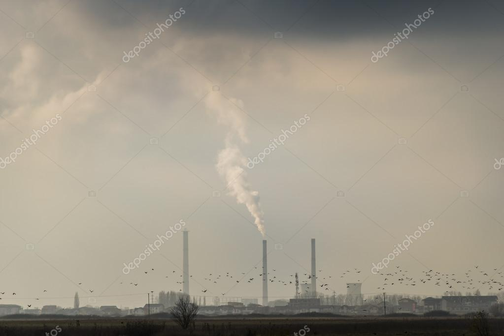 Industrial cityscape with coal power plant