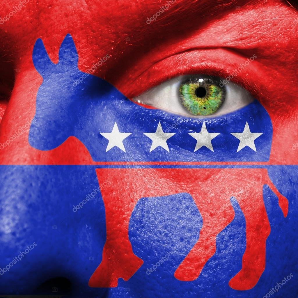Democratic party donkey symbol painted on a mans face stock democratic party donkey symbol painted on a mans face to show political support for the democrats photo by semmickphoto biocorpaavc Image collections