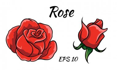 Red rose cartoon style on a white background. Red rose bud. icon