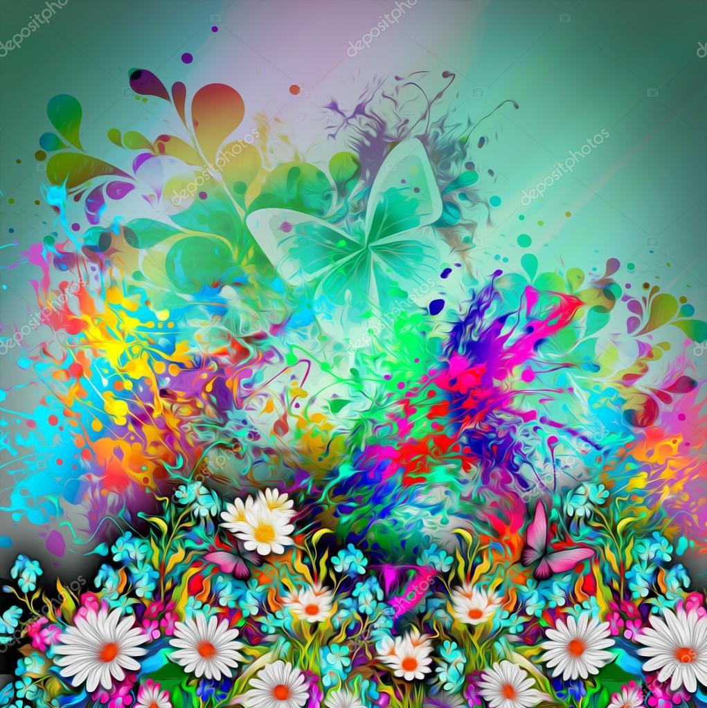 Sfondo con fiori e farfalle foto stock valik4053022 for Sfondi con farfalle