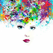 Fotografie model with abstract colorful background