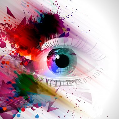 Eye on a colored background stock vector