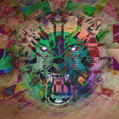 "Картина, постер, плакат, фотообои ""злая волчья абстракция "", артикул 58193787"