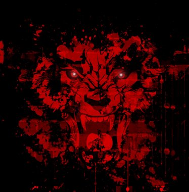 Bloody werewolf illustration