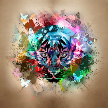 Bright abstract background with tiger stock vector