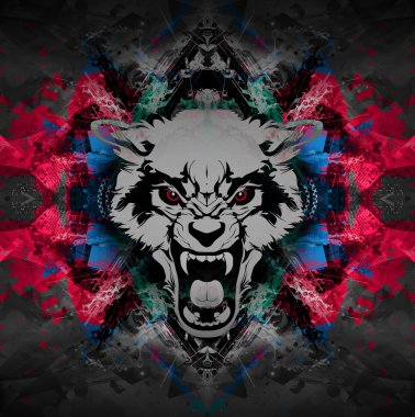 Angry wolf head on abstract background