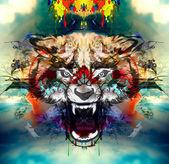 Dühös wolf fej
