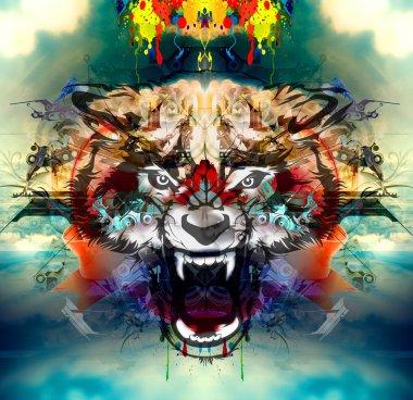 Angry wolf head