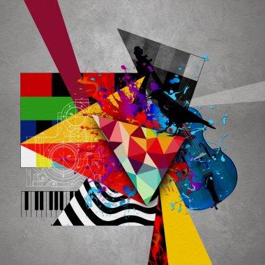 Futuristic abstract cello