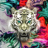 Tiger on graphic background
