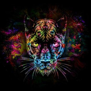 Colorful head of pantera