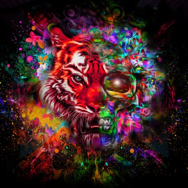 colorful tiger head with half skull