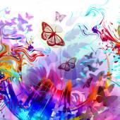 sfondo floreale con farfalle