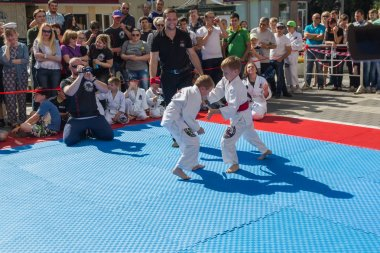 Young judo wrestlers 8-10 years on the demonstration performance
