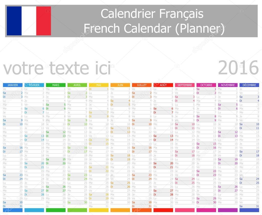 2016 französische Planer Kalender mit vertikalen Monate ...