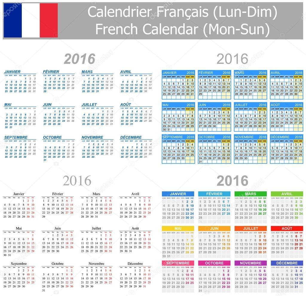 2016 英語ミックス カレンダー月曜始まり ストックベクター