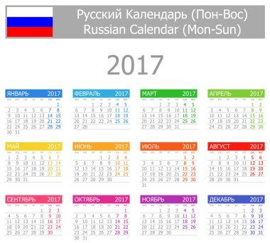2017 Russian Type-1 Calendar Mon-Sun