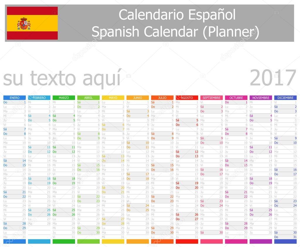 Calendar Planner Nodejs : Spanish planner calendar with vertical months — stock