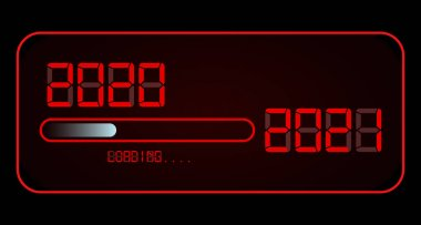 Happy new year 2020 with loading to up 2021. Red led neon digital time style. Progress bar almost reaching new year's eve. Vector illustration, red display 2021 loading isolated or black background