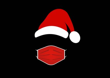 Santa Claus wears a medical mask and a red hat. Merry Christmas, Santa logo design for coronavirus protection, caution covid 19 wear surgical mask, vector isolated on black background icon