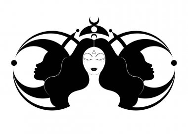 Wiccan woman icon, Triple goddess symbol of moon phases. Hekate, mythology, Wicca, witchcraft. Triple Moon Religious Wiccan sign. Logo Neopaganism symbol. Crescent, half and full moon, vector isolated icon