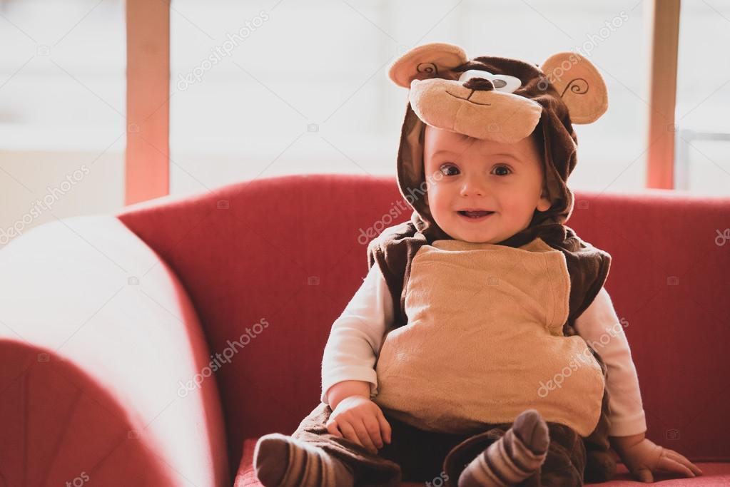 Baby in teddy bear costume u2014 Stock Photo  sc 1 st  Depositphotos & baby in teddy bear costume u2014 Stock Photo © progat #94664518