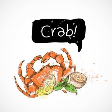 Crab seafood taste for packing or menu watercolor spray seafood poster on white background icon