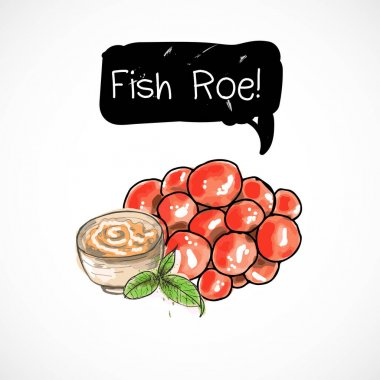Fish roe seafood taste for packing or menu watercolor spray seafood poster on white background icon