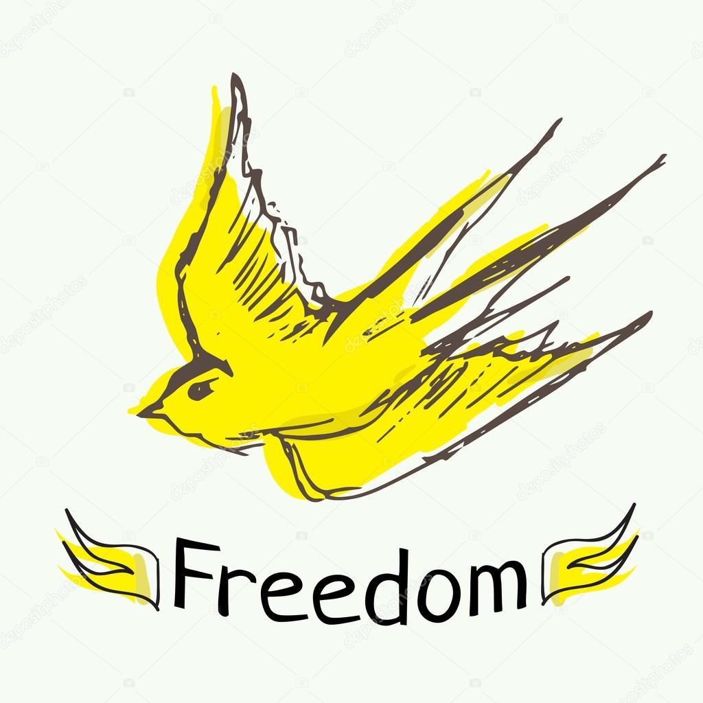 Boya Mürekkep Kuş özgürlük Stok Vektör Shekaka 64587739