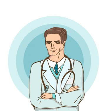 Doctor against blue circles