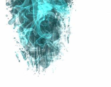 Multicolored smoke on white background