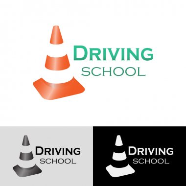 Logo driving school with traffic cone