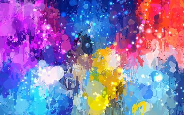 Colorful brush strokes background and sparks