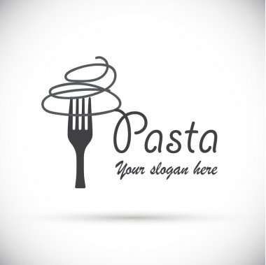 Gray logo fork with pasta