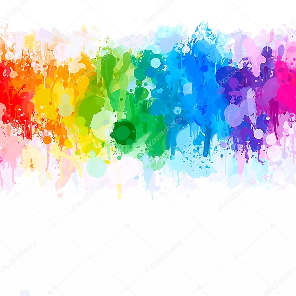 Rainbow watercolor brush strokes background