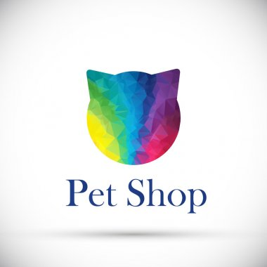 Polygonal logo cat face