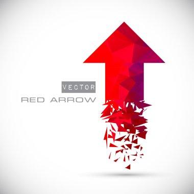 Red polygonal arrow flies upward