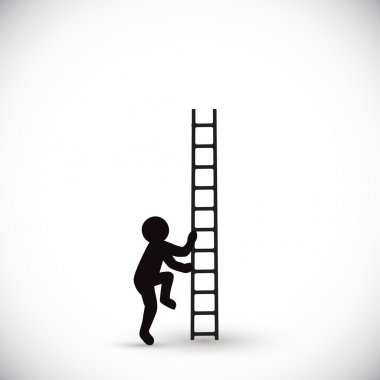 silhouette man climbs stairs up