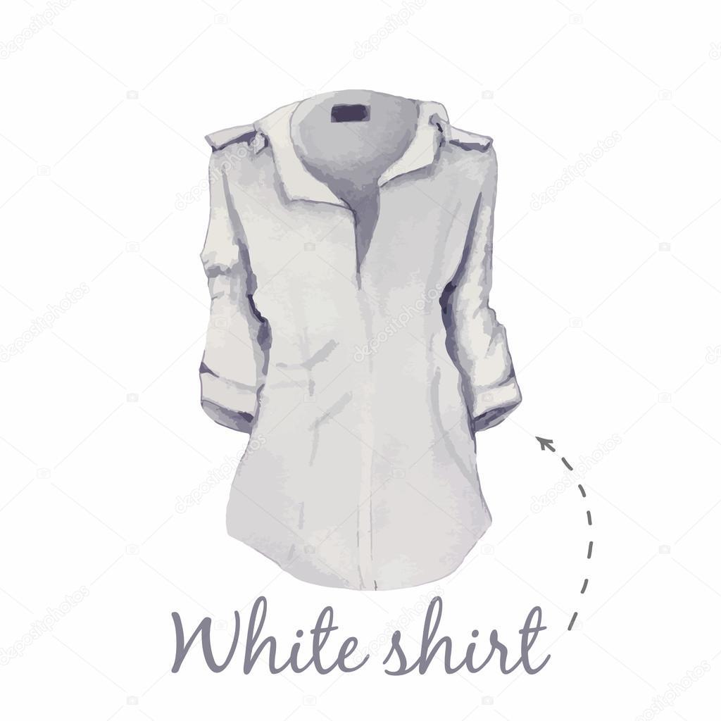 ακουαρέλα άσπρο πουκάμισο γυναικείο — Διανυσματικό Αρχείο © shekaka ... 7967fdfe11a