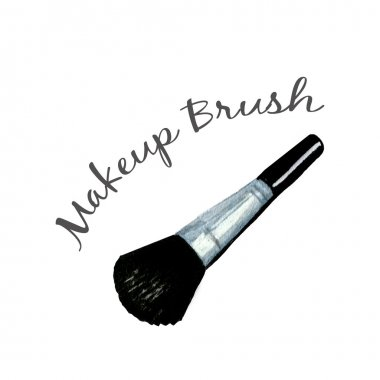 Makeup Brush watercolor illustration isolated on white background stock vector