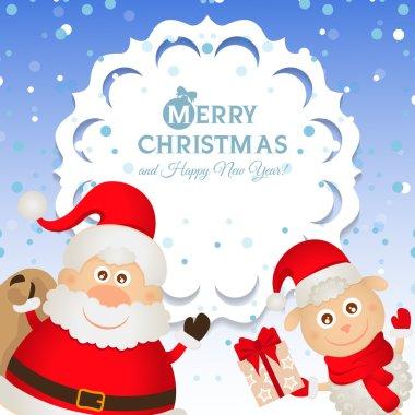 Christmas greeting card with Santa Claus and a sheep