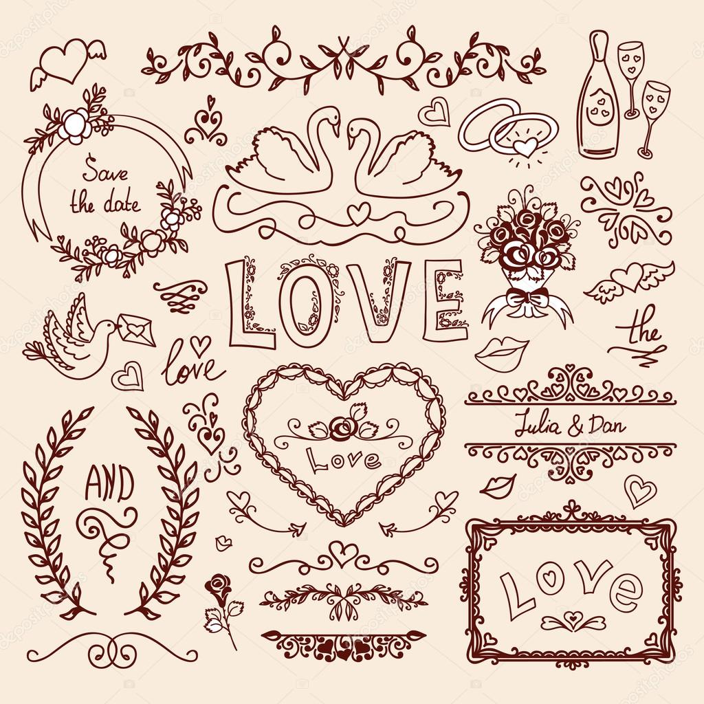 set of wedding ornaments stock vector osipovdim 76037283
