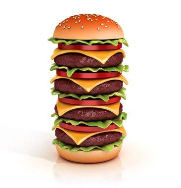 Hamburger tower 3d illustration