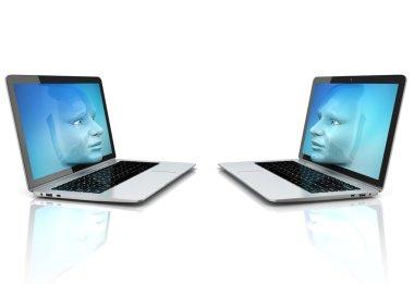 human faces exiting the computer screens