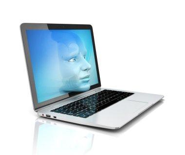 human face exiting the computer screen